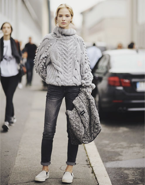 grey puffy sweater