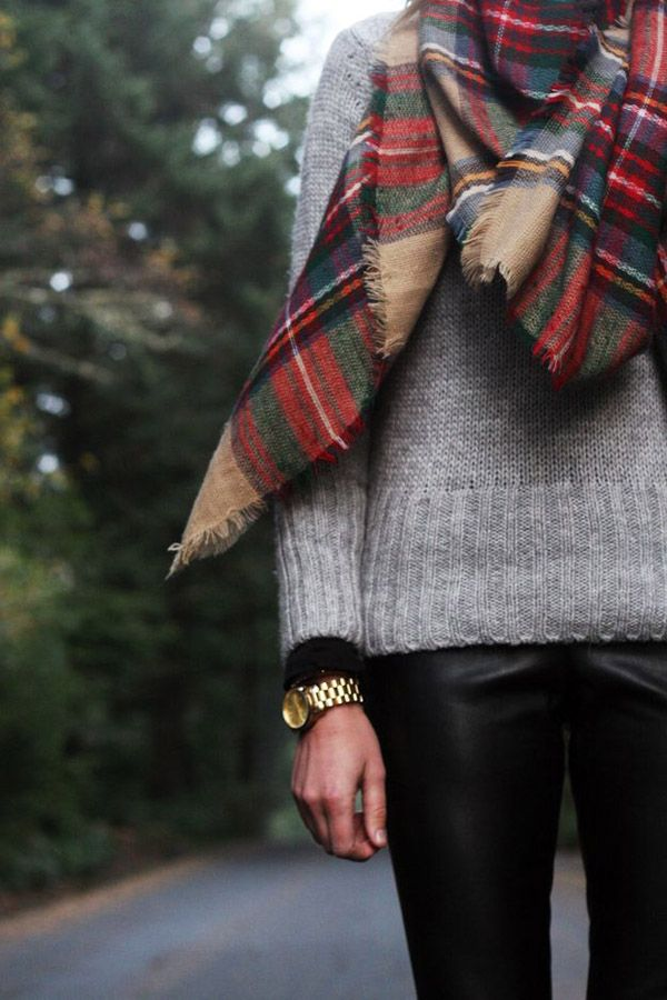 grey sweater tartan scarf